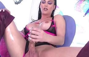 Busty Tgirl unaccompanied masturbates her shecock