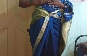 des indian horny cheating tamil telugu kannada malayalam hindi wife vanitha wearing glum colour saree  in the same manner big boobs together with shaved pussy press constant boobs press nip fretting pussy masturbation