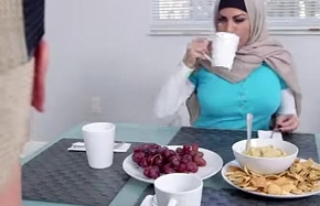 Muslim maw give a blowjob to sexy girlhood day while in dinner