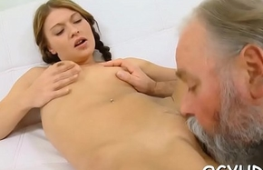 Brave young girl fucked by old impede