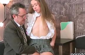 Lovesome schoolgirl was teased and reamed by her doyen schoolmaster